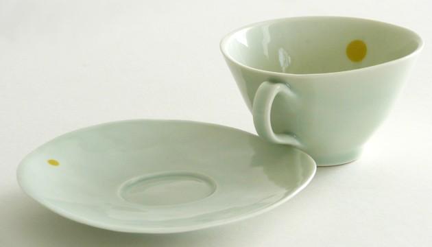 Yellow 'Spot On' Celadon teacup 'n' saucer